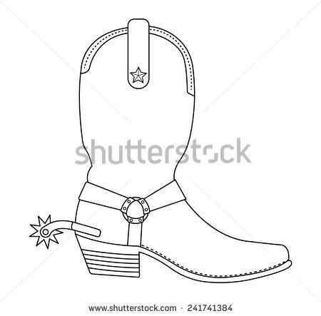 cowboy boot illustrations and clip art 1346 cowboy boot wild west cowboy boot with spur and star contour lines