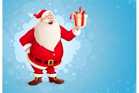 Santa Claus Merry 7 stock graphic merry santa claus holds gift in