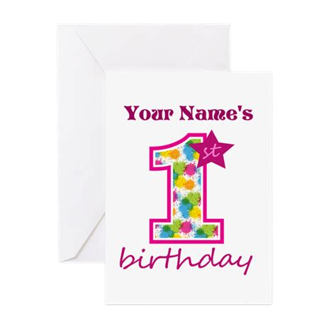 1st birthday greeting card template 1st birthday splat personalized greeting card by