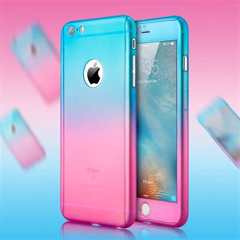 Iphone 7 360 Protection Gradient Pink Purple aliexpress buy luxury gradient transparent mat pc for iphone 6 6s plus for