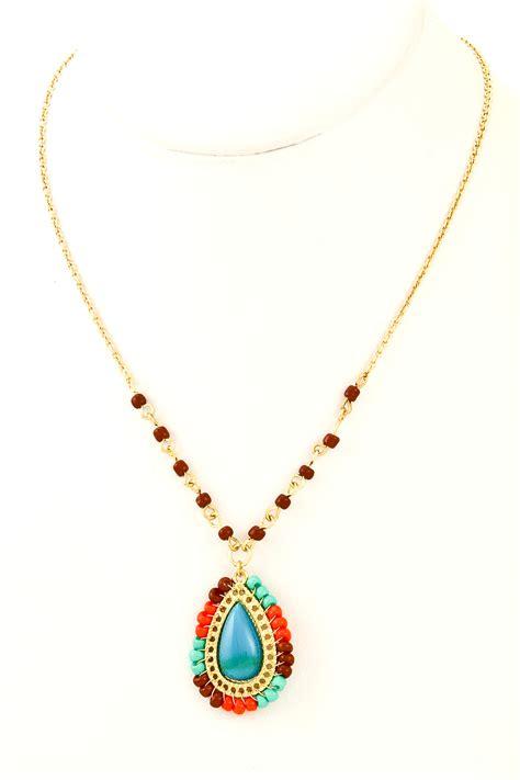 acrylic teardrop seed bead pendant necklace necklaces