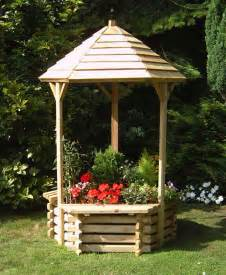 interlocking wooden wishing well planter