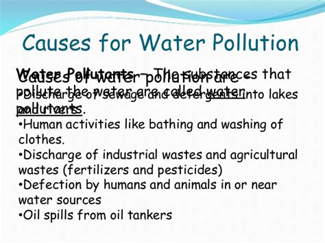 Causes And Effect Of Water Pollution Essay by Water Pollution And Its Causes