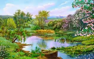 boat flower lovely garden nature lakes hd desktop wallpaper