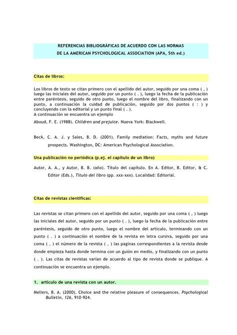 ejemplo de ensayo con formato apa 6 normas apa para referencias bibliogr 225 ficas