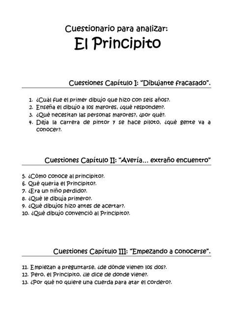 preguntas comprension de lectora el principito cuestionario para analizar el principito pdf