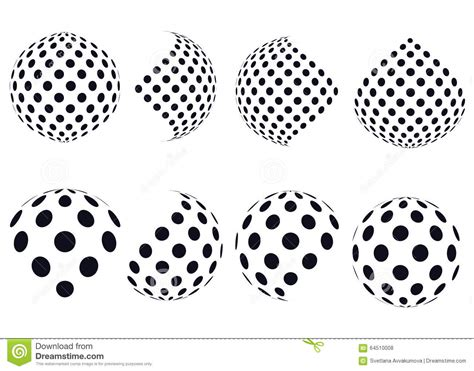 dot pattern globe 3d vector halftone spheres set of abstract backgrounds
