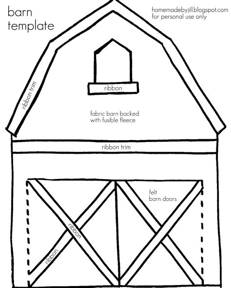 Barn Pattern For Quiet Book | barn templates homemade by jill templates printables