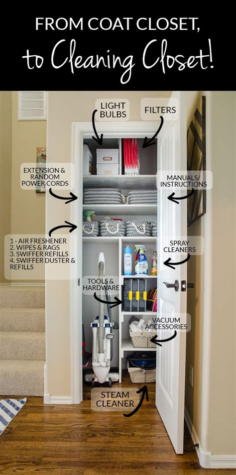 organize media from coat closet to cleaning closet organizing in style