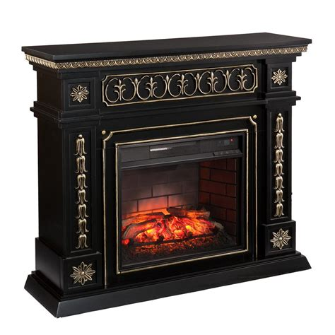Black Electric Fireplace Southern Enterprises Lockport 47 In W Infrared Electric Fireplace In Black Hd90787 The Home Depot