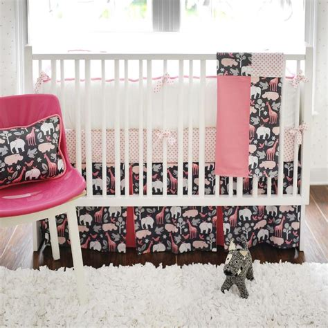 Black And Pink Crib Bedding Pink And Black Crib Bedding Contemporary Nursery New Arrivals Inc