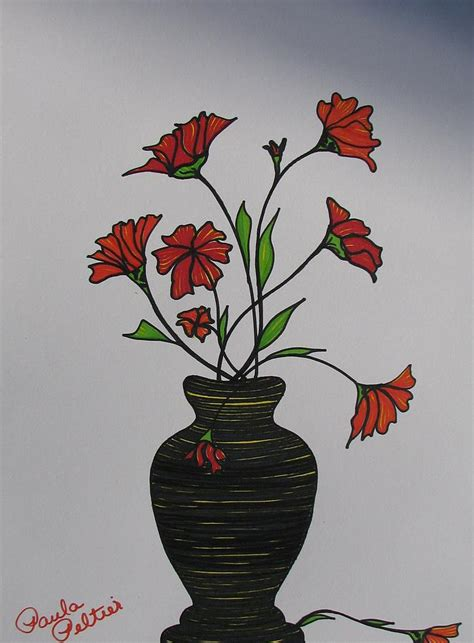 Drawing Of Flowers In Vase by Flowers In Vase Ii By Paula Peltier