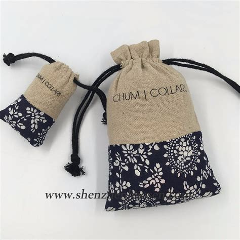 promotional cotton calico gift drawstring bag with logo