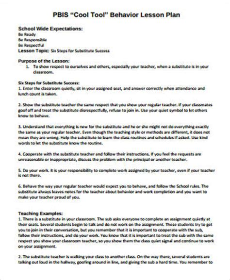 substitute lesson plan template sle lesson plan 7 exles in word pdf