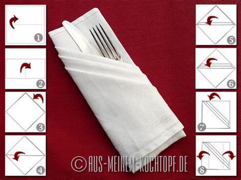 bestecktaschen falten servietten falten vom tafelspitz zur bestecktasche