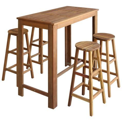 Bar Table And Stool Set 243891 Vidaxl Five Bar Table And Stool Set Solid Acacia Wood Vidaxl Co Uk