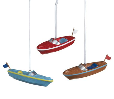 chris craft boat christmas ornament set of 3