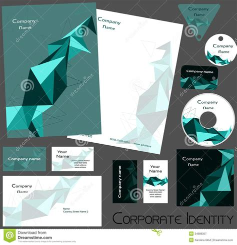 corporate id card design template corporate identity template no14 stock vector image