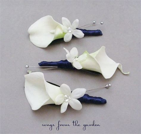 Wrist Corsage Groom Brooch Boutonniere Pin Bunga Bridesmaid 4 calla lilies boutonnieres and lilies on