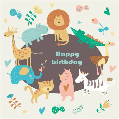 animal birthday card template 19 happy birthday cards free psd illustrator