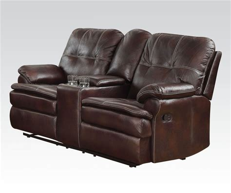 microfiber reclining loveseat with console zamora brown polished microfiber reclining console