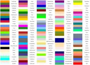 name of color html colors names