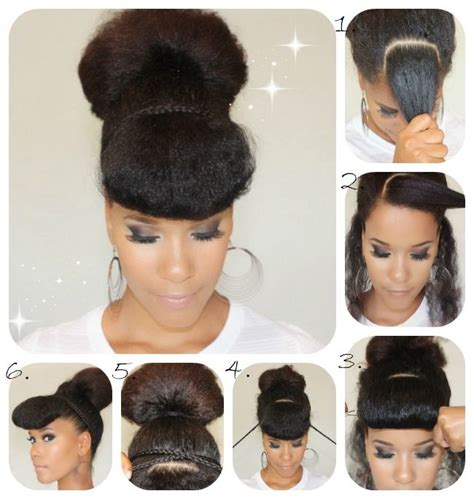 natural hair bun styles with bang photos easy and unique bun hairstyle ideas