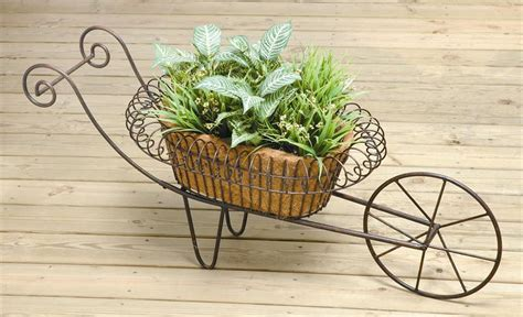 Rustic Wheelbarrow Planter by Deer Park Ironworks Wh103 Rustic Brown Metal Wheelbarrow