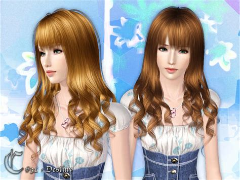 sims 3 custom content fringe hairstyle the sims 3 destiny wavy with bangs hairstyle by cazy