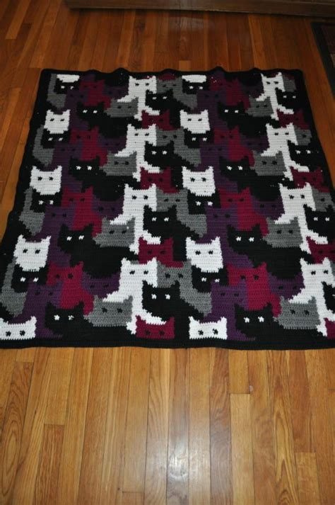 pattern for cat afghan colorwork with cats crochet creation by transitoria i