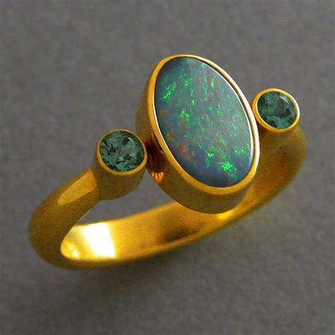 tourmaline opal 18k boulder opal and green tourmaline ring the vault