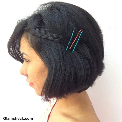 diy hairstyles with bobby pins holi hairstyle side braided bob with diy colored bobby pins