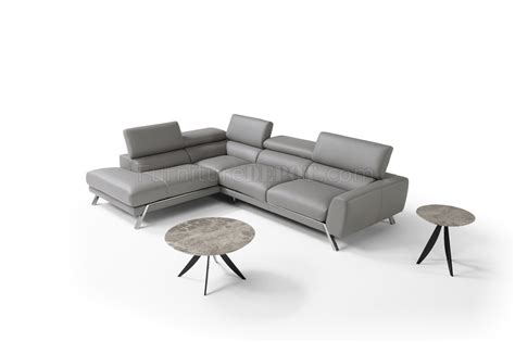 mood reclining sectional sofa in grey leather by j m