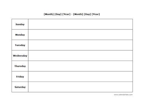 blank monthly planner template weekly blank calendar landscape 03 free printable templates
