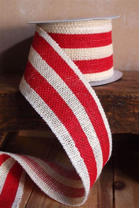 "Red & White Striped Burlap Ribbon 2.5"" Width x 10 Yds"