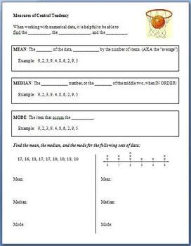 Measures Of Central Tendency Worksheets by Measures Of Central Tendency Guided Notes On Median