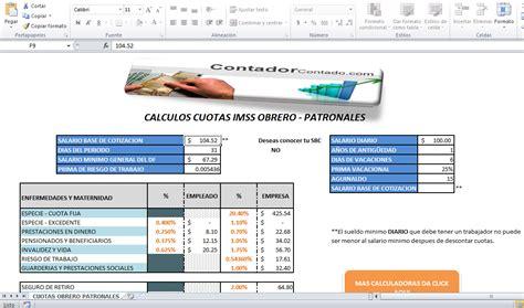 calculadora imms mexico 2016 porcentajes de contribuciones patronales 2016 tablas