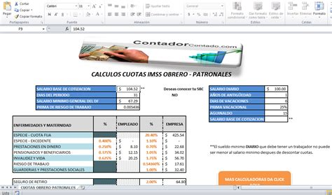 calculo de cuotas imss 2016 calculadora cuotas imss contador contado