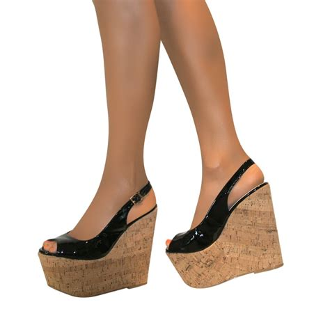 high heel cork wedge sandals slingback platform patent cork wedge high heel peep