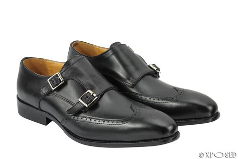 smart shoes new black brown real leather monk