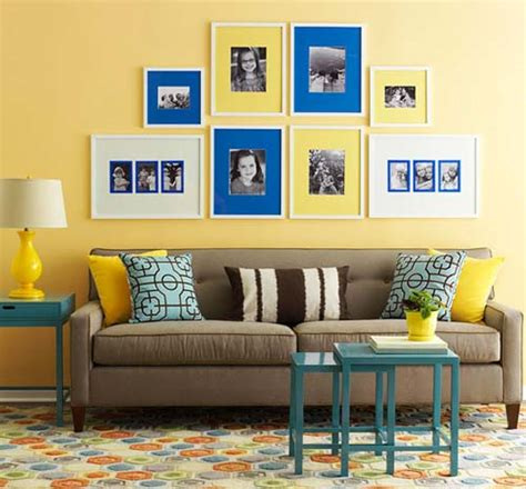 Yellow Walls Blue Curtains Decorating Modern Interior Decorating With Yellow Color Cheerful Interior Decor Ideas
