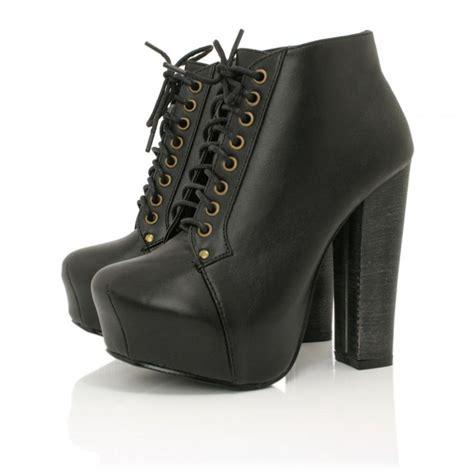 black leather style heeled ankle boots buy black leather