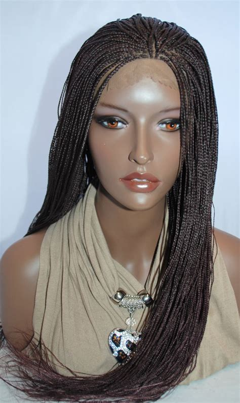 micro braids lace front wigs braided lace front wig micro braids color 99j in 24 inches