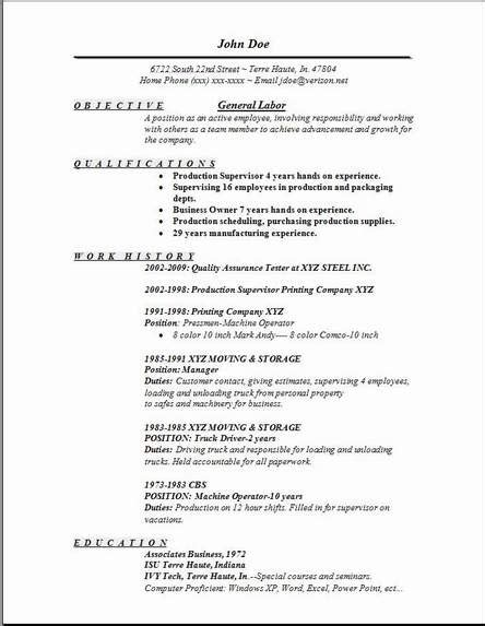 general labor resume exles sles free edit with word