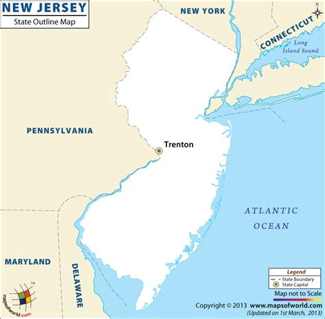 new jersey on usa map blank map of new jersey new jersey outline map