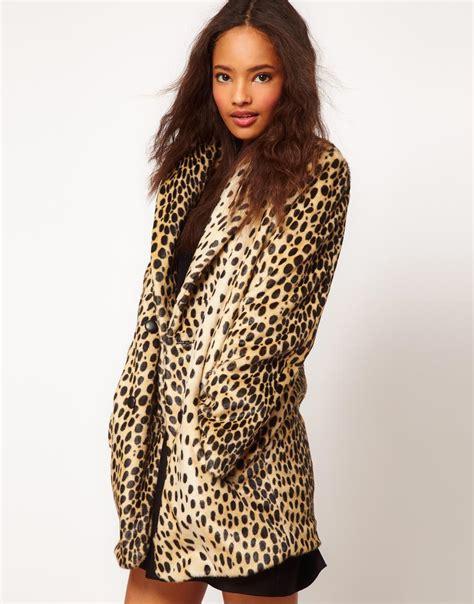 Kaos Print Umakuka Leopard Blue asos collection asos leopard oversized coat lyst
