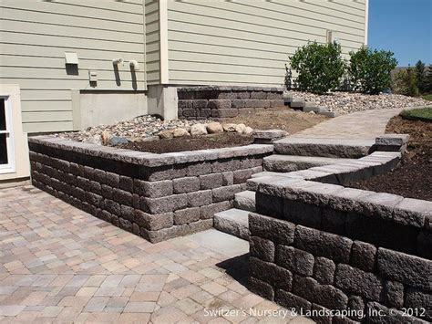 paver patio deck with retaining wall steps home