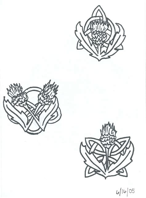 celtic flower tattoo designs black thistle and stencil by designerdragon