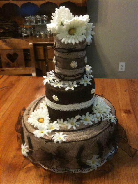 Bridal Shower Idea Towel Wedding Cake by Towel Cake Centerpiece For Rustic Wedding Shower Craft