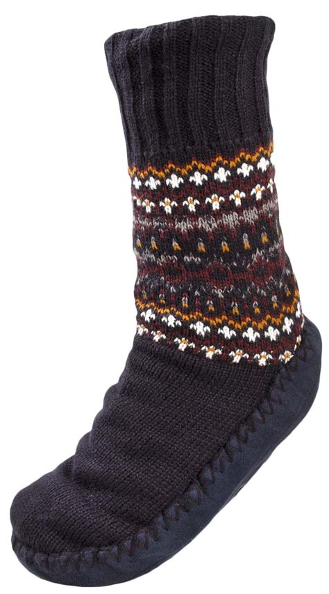 mens knitted slipper socks mens fairisle slipper socks warm lined knitted bed socks